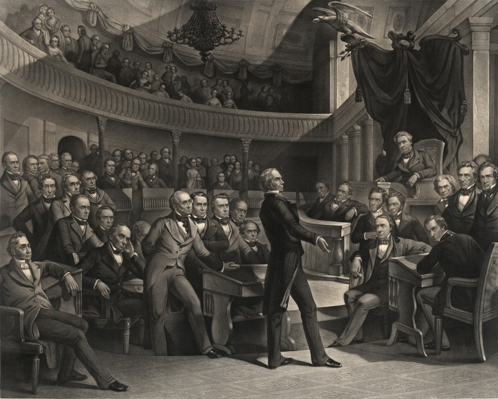 "Henry Clay (""The Great Compromiser"") addresses the U.S. Senate during the debates over the Compromise of 1850. The print shows a number of incendiary personalities, like John C. Calhoun, whose increasingly sectional beliefs were pacified for a time by the Compromise. P. F. Rothermel (artist), c. 1855. Wikimedia, http://commons.wikimedia.org/wiki/File:Henry_Clay_Senate3.jpg."