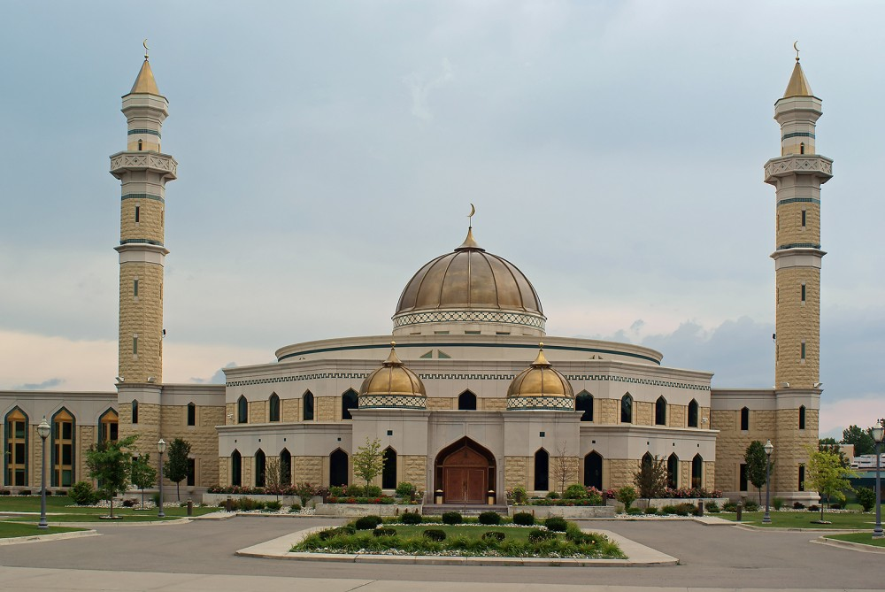 Opened in 2005, this beautiful new mosque at the Islamic Center of America in Dearborn, Michigan, is the largest such religious structure in the United States. Muslims in Dearborn have faced religious and racial prejudice, but the suburb of Detroit continues to be a central meeting-place for American Muslims. Photograph July 8, 2008. Wikimedia, http://commons.wikimedia.org/wiki/File:Islamic_Center_of_America.jpg.