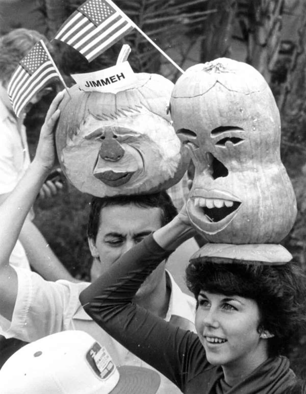 Pumpkins carved in the likeness of President Jimmy Carter in Polk County, Florida, October 1980, State Library and Archives of Florida via Flickr, https://www.flickr.com/photos/floridamemory/10554725056/in/photolist-7YvoG-5T4LFb-9L84Cp-dkZJrj-2ZWj62-2PZWZy-2PVsYB-dpHgKe-h5FJ3d-63diMF-dUscrS-8Xrcgm-2PVujx-BtVQR-2ikusL-8SqgFG-9YhFMv-9Y2e3M-8Xrcm5-6raVQ1-8ELVDa-868hpW-5ZqsiS-9BY7r8-nvHn8g-5suU6Y-5suW69-3gEeUd-vTudu-cPabXu-4xsepv-2PVuEZ-2PVtzR-cPaaTj-yeSxD-m3veAn-nvHDjq-8ESf1U-7nPjSi-2PVws4-nNaapU-868inq-8vhd9Z-9tjaTo-f9Ardt-4FYKJ8-cQk1Co-f8deRv-5nQJeN-dUmA4a.