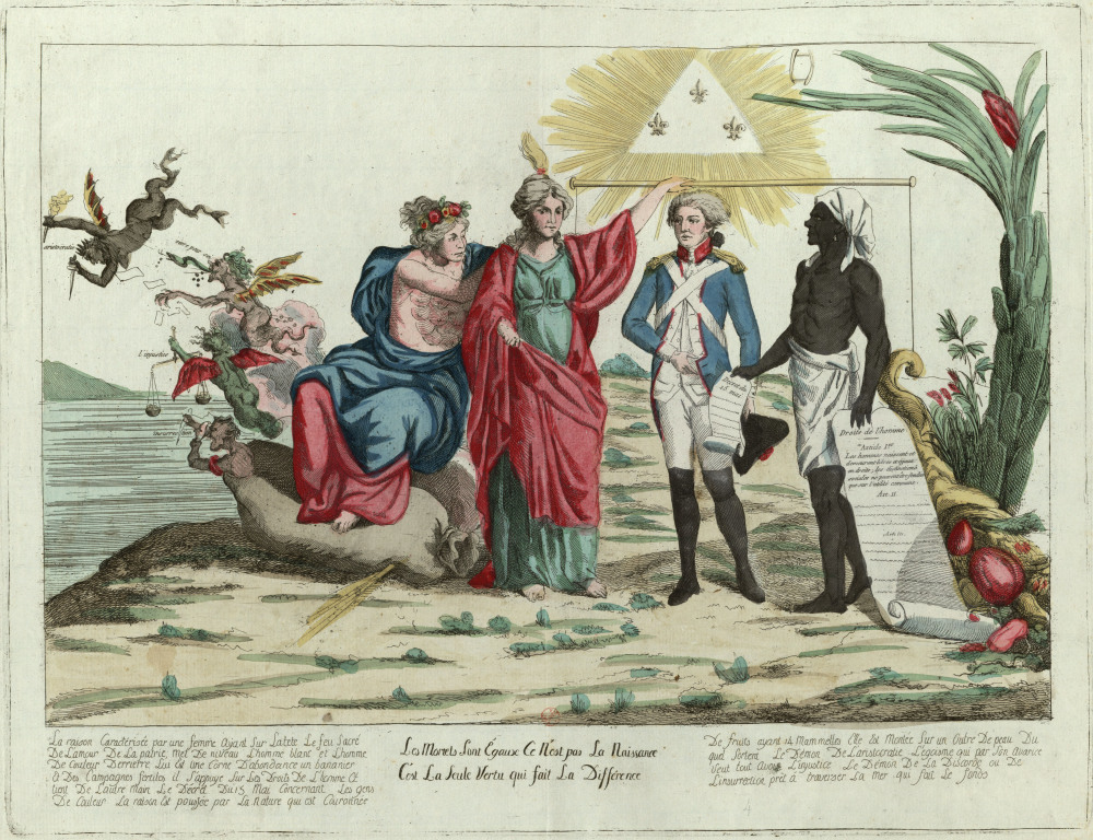 """This print from the French Society of the Friends of Blacks demonstrates the belief held by many (but not all) abolitionists throughout the Atlantic World that all persons, regardless of skin color, are equal by birth. """"Les Mortels sont égaux, ce n'est pas la naissance c'est la seule vertu qui fait la différence"""" (""""Mortals are equal, it is not birth, but virtue alone that makes the difference""""), 1794. Wikimedia, http://commons.wikimedia.org/wiki/File:Les_Mortels_sont_%C3%A9gaux,_ce_n%27est_pas_la_naissance_c%27est_la_seule_vertu_qui_fait_la_diff%C3%A9rence.jpg."""