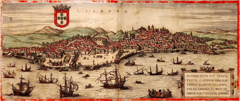 "Engraving of sixteenth century Lisbon from Civitatis Orbis Terrarum, ""The Cities of the World,"" ed. Georg Braun (Cologne: 1572) via Wikimedia"