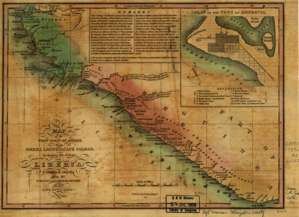 The issue of emigration elicited disparate reactions from African Americans. Tens of thousands left the United States for Liberia, a map of which is shown here, to pursue greater freedoms and prosperity. Most emigrants did not experience such success, but Liberia continued to attract black settlers for decades. J. Ashmun, Map of the West Coast of Africa from Sierra Leone to Cape Palmas, including the colony of Liberia…, 1830. Library of Congress, http://memory.loc.gov/cgi-bin/query/h?ammem/gmd:@field%28NUMBER+@band%28g8882c+lm000002%29%29.