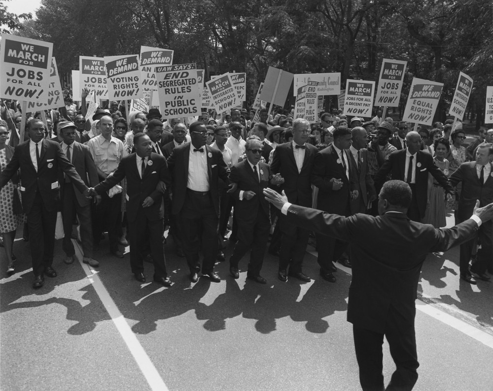 White activists increasingly joined African Americans in the Civil Rights Movement during the 1960s. This photograph shows Martin Luther King, Jr., and other black civil rights leaders arm-in-arm with leaders of the Jewish community. Photograph, August 28, 1963. Wikimedia, http://commons.wikimedia.org/wiki/File:March_on_washington_Aug_28_1963.jpg.