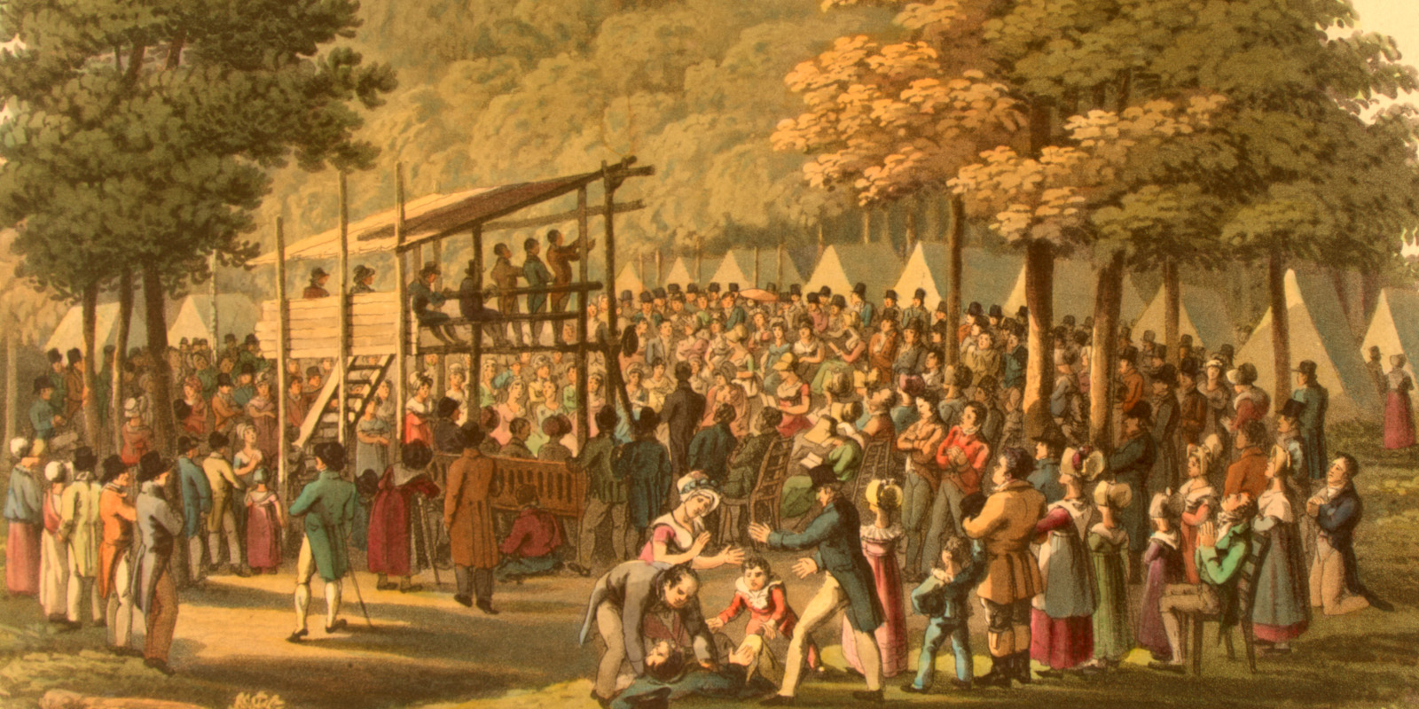 """""""Camp Meeting of the Methodists in N. America,"""" 1819, Library of Congress"""
