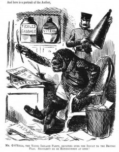 "John Tenniel, ""Mr. G'Orilla,"" c. 1845-52, http://en.wikipedia.org/wiki/Anti-Irish_sentiment#mediaviewer/File:Monkeyirishman.jpg."