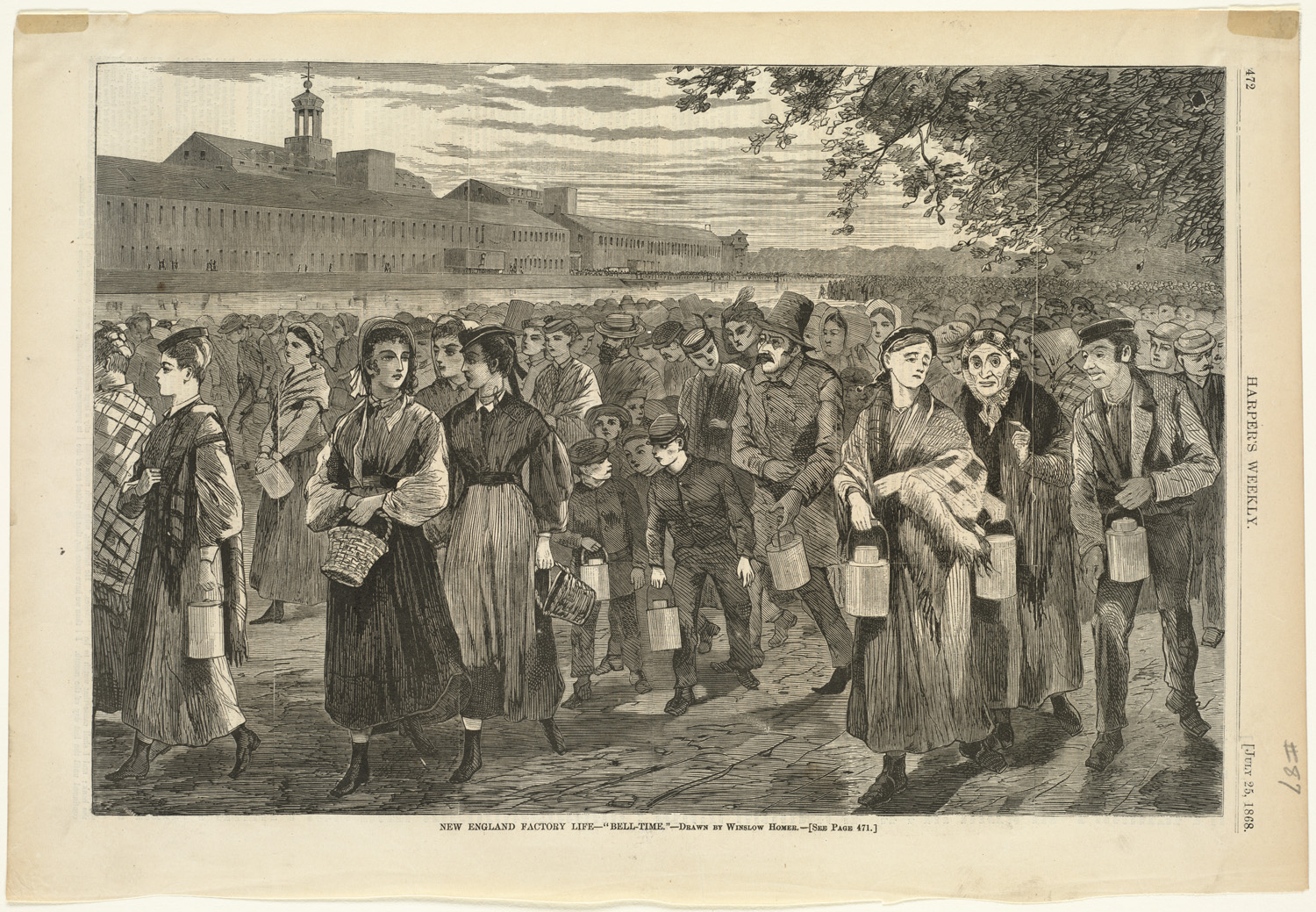 """Winslow Homer, """"Bell-Time,"""" Harper's Weekly vol. XII (July 1868): p. 472, http://commons.wikimedia.org/wiki/File:New_England_factory_life_--_%27Bell-time.%27_%28Boston_Public_Library%29.jpg."""