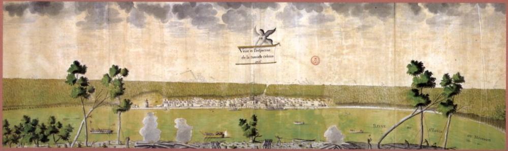 """Jean-Pierre Lassus, """"Veüe et Perspective de la Nouvelle Orleans,"""" 1726, Centre des archives d'outre-mer, France via Wikimedia. This depiction of New Orleans in 1726 when it was an 8-year-old French frontier settlement."""