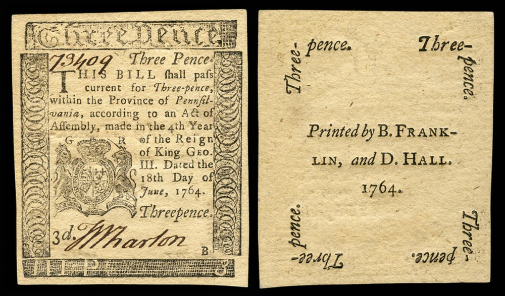 Benjamin Franklin and David Hall, printers, Pennsylvania Currency, 1764. Wikimedia, http://commons.wikimedia.org/wiki/File:US-Colonial_%28PA-115%29-Pennsylvania-18_Jun_1764.jpg.