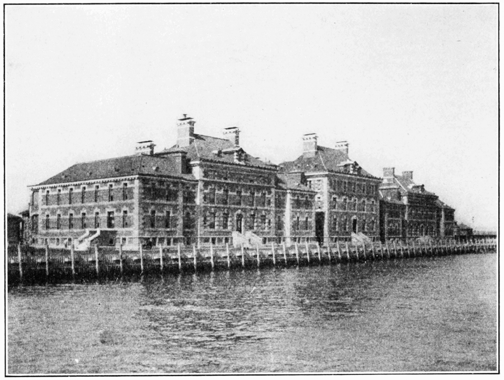 As the country's busiest immigrant inspection station from the late nineteenth through mid-twentieth century, Ellis Island operated a massive medical service through the Ellis Island Immigrant Hospital (seen in the photograph). Symbols of various diseases (physical and mental) were placed on immigrants' clothing using chalk, and many were able to enter the country only through wiping off or concealing the chalk marks. Photograph of the Immigrant Hospital at Ellis Island, 1913. Wikimedia, http://commons.wikimedia.org/wiki/File:PSM_V82_D010_The_immigrant_hospital_at_ellis_island.png.