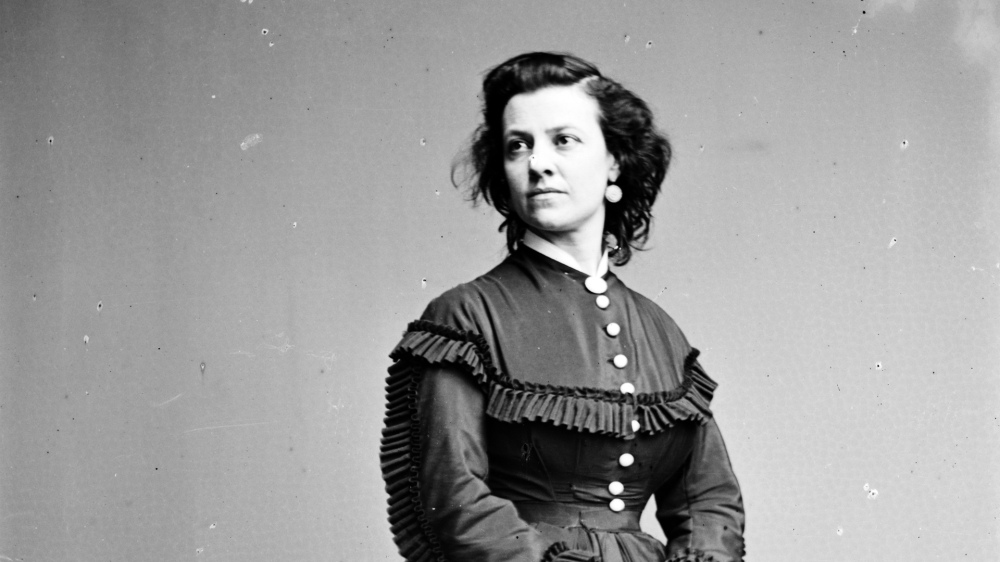 """This photograph depicts Pauline Cushman, an American actress, a perfect occupation for a wartime spy. Using her guile to fraternize with Confederate officers, Cushman she snuck military plans and drawings to Union officials in her shoes. She was caught, tried, and sentenced to death, but was apparently saved days before her execution by the occupation of her native New Orleans by Union forces. Women like Cushman, whether spies, nurses, or textile workers, were essential to the Union war effort. """"Pauline Cushman,"""" between 1855 and 1865. Library of Congress."""