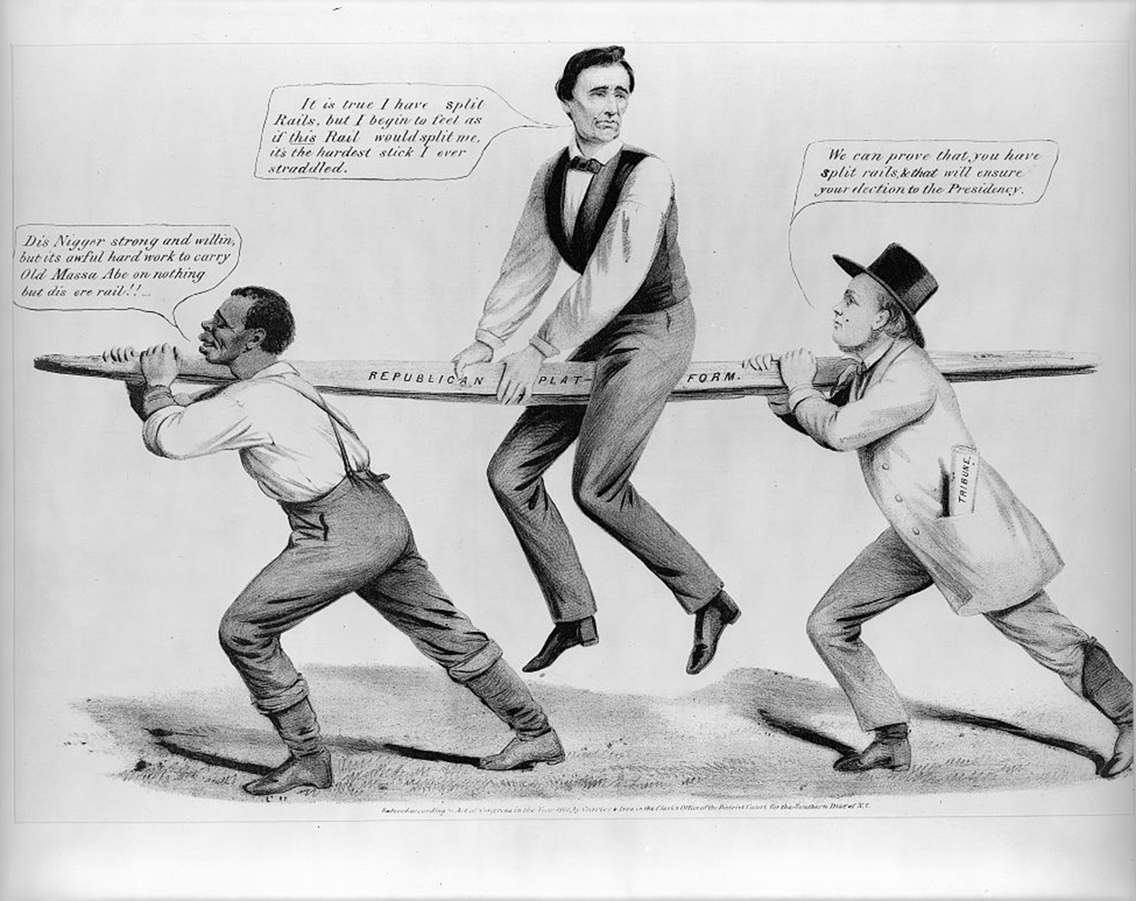"""In this political cartoon, Abraham Lincoln uncomfortably straddles a rail supported by a black man and Horace Greeley (editor of the New York """"Tribune""""). The wood board is a dual reference to the antislavery plank of the 1860 Republican platform -- which Lincoln seemed to uneasily defend -- and Lincoln's backwoods origins. Louis Maurer, """"The Rail Candidate,"""" Currier & Ives, c. 1860. Library of Congress, http://www.loc.gov/pictures/item/2001703953/."""