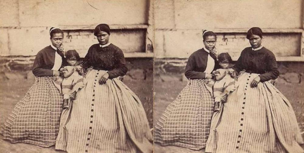 This photograph is Selina Gray and two of her daughters. Gray was the enslaved housekeeper to Robert E. Lee. Via the National Park Service