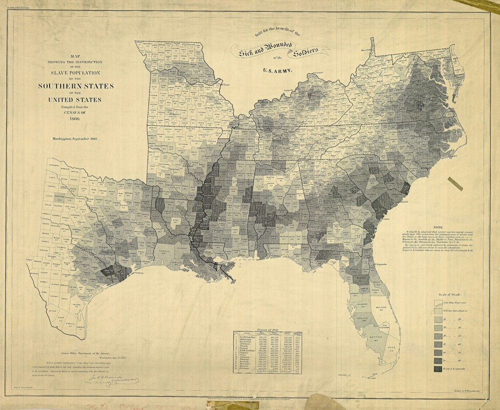 "This map, published by the US Coast Guard, shows the percentage of slaves in the population in each county of the slave-holding states in 1860. The highest percentages lie along the Mississippi River, in the ""Black Belt"" of Alabama, and coastal South Carolina, all of which were centers of agricultural production (cotton and rice) in the United States. E. Hergesheimer (cartographer), Th. Leonhardt (engraver), Map Showing the Distribution of the Slave Population of the Southern States of the United States Compiled from the Census of 1860, c. 1861. Wikimedia, http://commons.wikimedia.org/wiki/File:SlavePopulationUS1860.jpg."