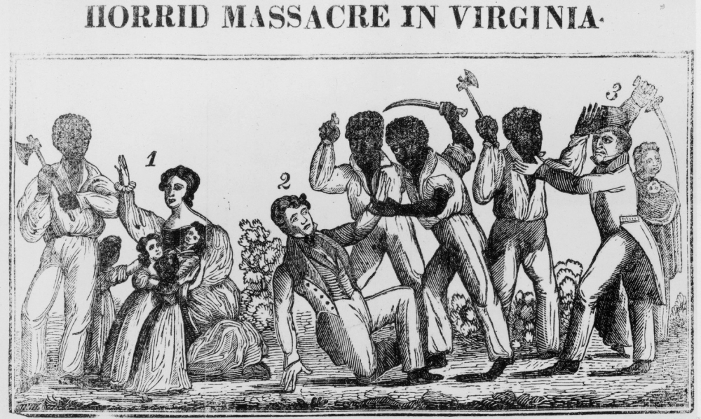 This woodcut captured the terror felt by white southerners in the aftermath of Nat Turner's rebellion. After the rebellion, fearful white reactionaries killed hundreds of enslaved people—most of whom were unconnected to the rebellion— and the state created stricter, more limiting laws concerning slavery. via African American Intellectual History Society.