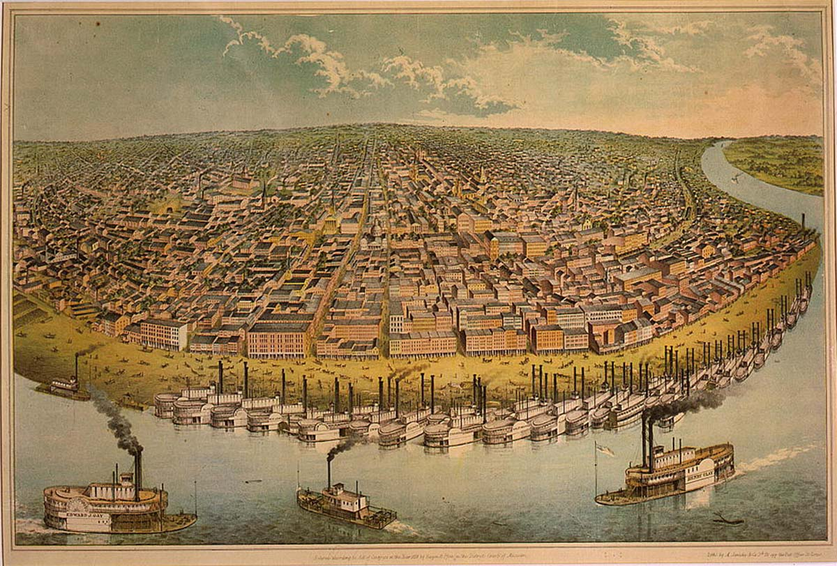 """A. Janicke & Co., """"Our City, (St. Louis, Mo.),"""" 1859, http://www.loc.gov/pictures/resource/cph.3g03168/."""