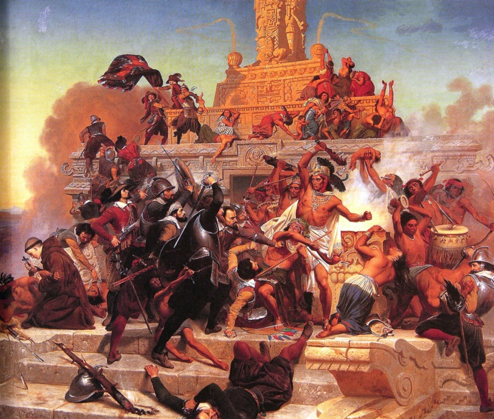 """Emanuel Gottlieb Leutze, """"Storming of the Teocalli by Cortez and His Troops,"""" 1848. Wikimedia. http://commons.wikimedia.org/wiki/File:Leutze,_Emanuel_%E2%80%94_Storming_of_the_Teocalli_by_Cortez_and_His_Troops_%E2%80%94_1848.jpg"""