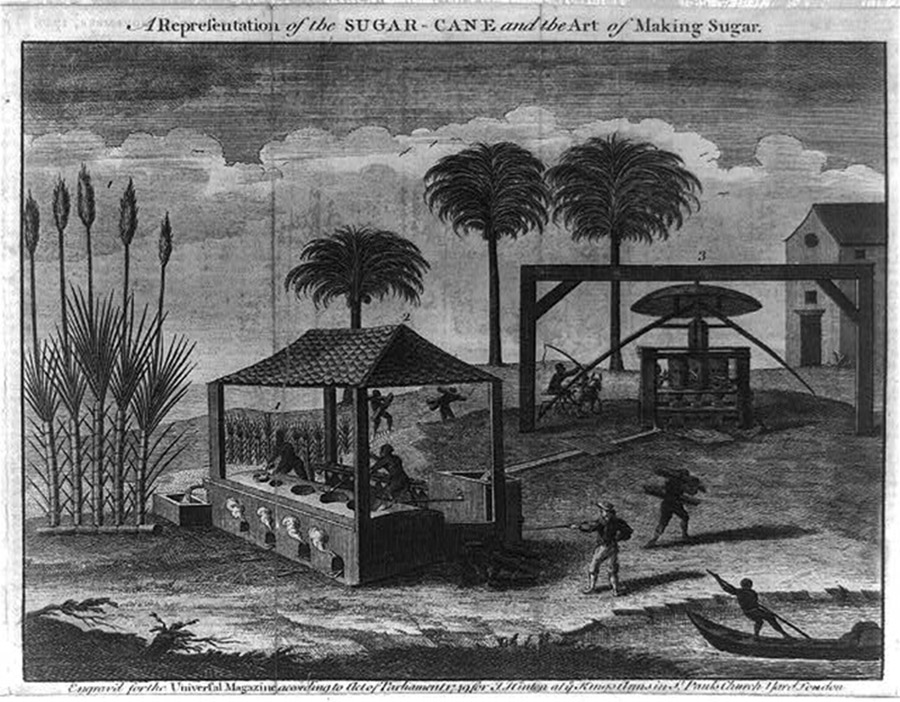 "John Hinton, ""A representation of the sugar-cane and the art of making sugar,"" 1749. Library of Congress, http://www.loc.gov/pictures/item/2004670227/."