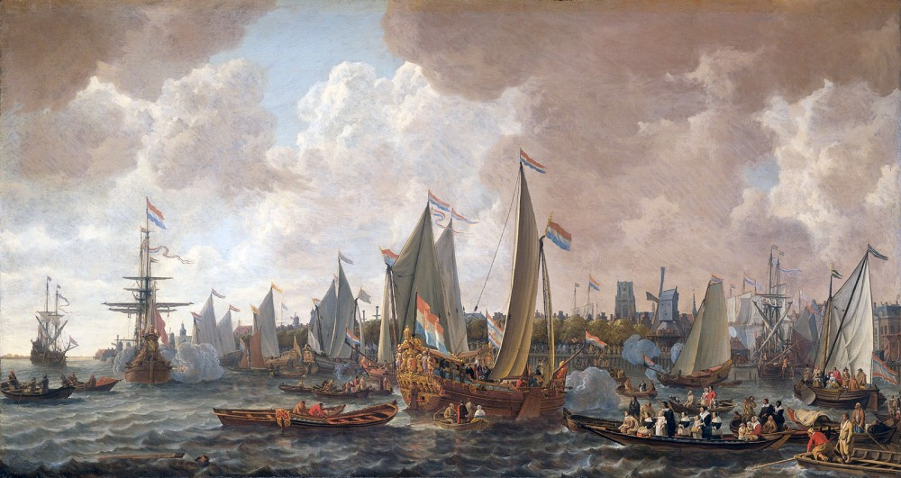 England found itself in crisis after the death of Oliver Cromwell in 1658, leading in time to the reestablishment of the monarchy. On his 30th birthday (May 29, 1660), Charles II sailed from the Netherlands to his restoration after nine years in exile. He was received in London to great acclaim, as depicted in his contemporary painting. Lieve Verschuler, The arrival of King Charles II of England in Rotterdam, 24 May 1660. c. 1660-1665. Wikimedia, http://commons.wikimedia.org/wiki/File:The_arrival_of_King_Charles_II_of_England_in_Rotterdam,_may_24_1660_%28Lieve_Pietersz._Verschuier,_1665%29.jpg.
