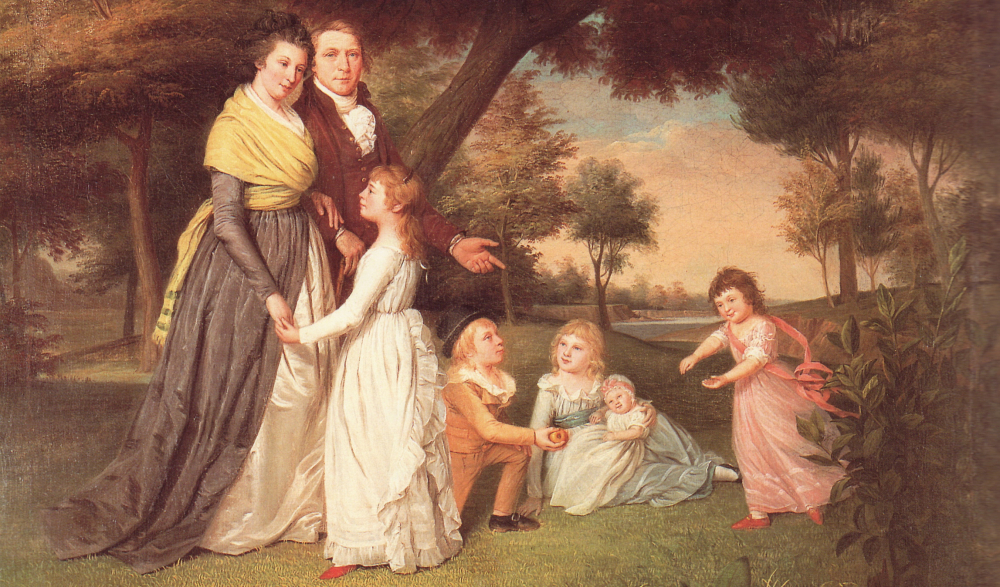 The artist James Pealse painted this portrait of his wife Mary and five of their eventual six children. Peale and others represented women as responsibl for the health of the republic through their roles as wives as mothers. Though unmistakably steeped in the gendered assumptions about female sexuality and domesticity that denied women an equal share of the political rights men enjoyed, these statements also conceded the pivotal role women played as active participants in partisan politics. Via Wikimedia.