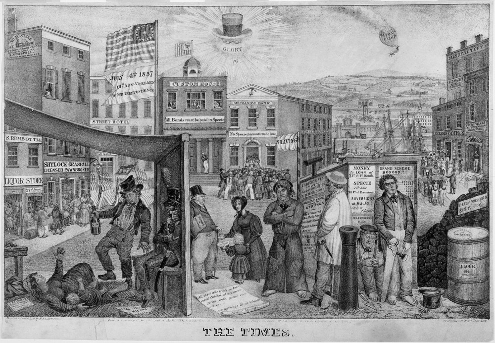 "Many Americans blamed the Panic of 1837 on the economic policies of Andrew Jackson, who is sarcastically represented in the lithograph as the sun with top hat, spectacle, and a banner of ""Glory"" around him. The destitute people in the foreground (representing the common man) are suffering while a prosperous attorney rides in an elegant carriage in the background (right side of frame). Edward W. Clay, ""The Times,"" 1837. Wikimedia, http://commons.wikimedia.org/wiki/File:The_times_panic_1837.jpg."