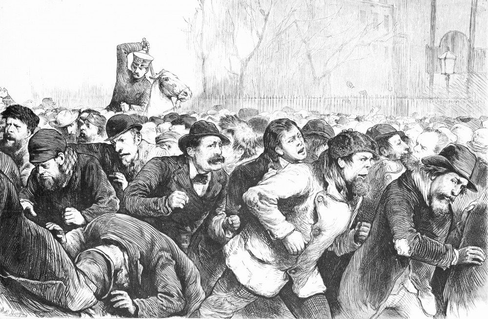 During the Panic of 1873, workers began demanding that the federal government help alleviate the strain on Americans. In January 1874, over 7,000 protesters congregated in New York City's Tompkins Square to insist the government make job creation a priority. They were met with brutality as police dispersed the crowd, and consequently the unemployment movement lost much of its steam. Matt Morgen, Print of a crowd driven from Tompkins Square by the mounted police, in the Tompkins Square Riot of 1874, January 1874. Wikimedia, http://commons.wikimedia.org/wiki/File:Tompkins_square_riot_1874.jpg.
