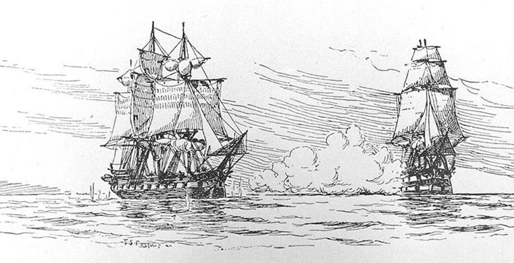 "The attack of the Chesapeake caused such furor in the hearts of Americans that even 80 years after the incident, an artist sketched this drawing of the event. Fred S. Cozzens, ""The incident between HMS 'Leopard; and USS 'Chesapeake' that sparked the Chesapeake-Leopard Affair,"" 1897. http://commons.wikimedia.org/wiki/File:Leopardchesapeake.jpg."