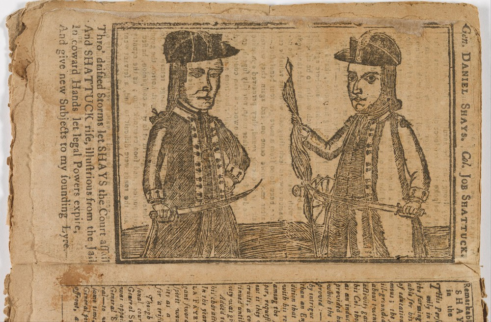 "Daniel Shays became a divisive figure, to some a violent rebel seeking to upend the new American government, to others an upholder of the true revolutionary virtues Shays and others fought for. This contemporary depiction of Shays and his accomplice Job Shattuck portrays them in the latter light as rising ""illustrious from the Jail."" Unidentified Artist, Daniel Shays and Job Shattuck, 1787. Wikimedia, http://commons.wikimedia.org/wiki/File:Unidentified_Artist_-_Daniel_Shays_and_Job_Shattuck_-_Google_Art_Project.jpg."