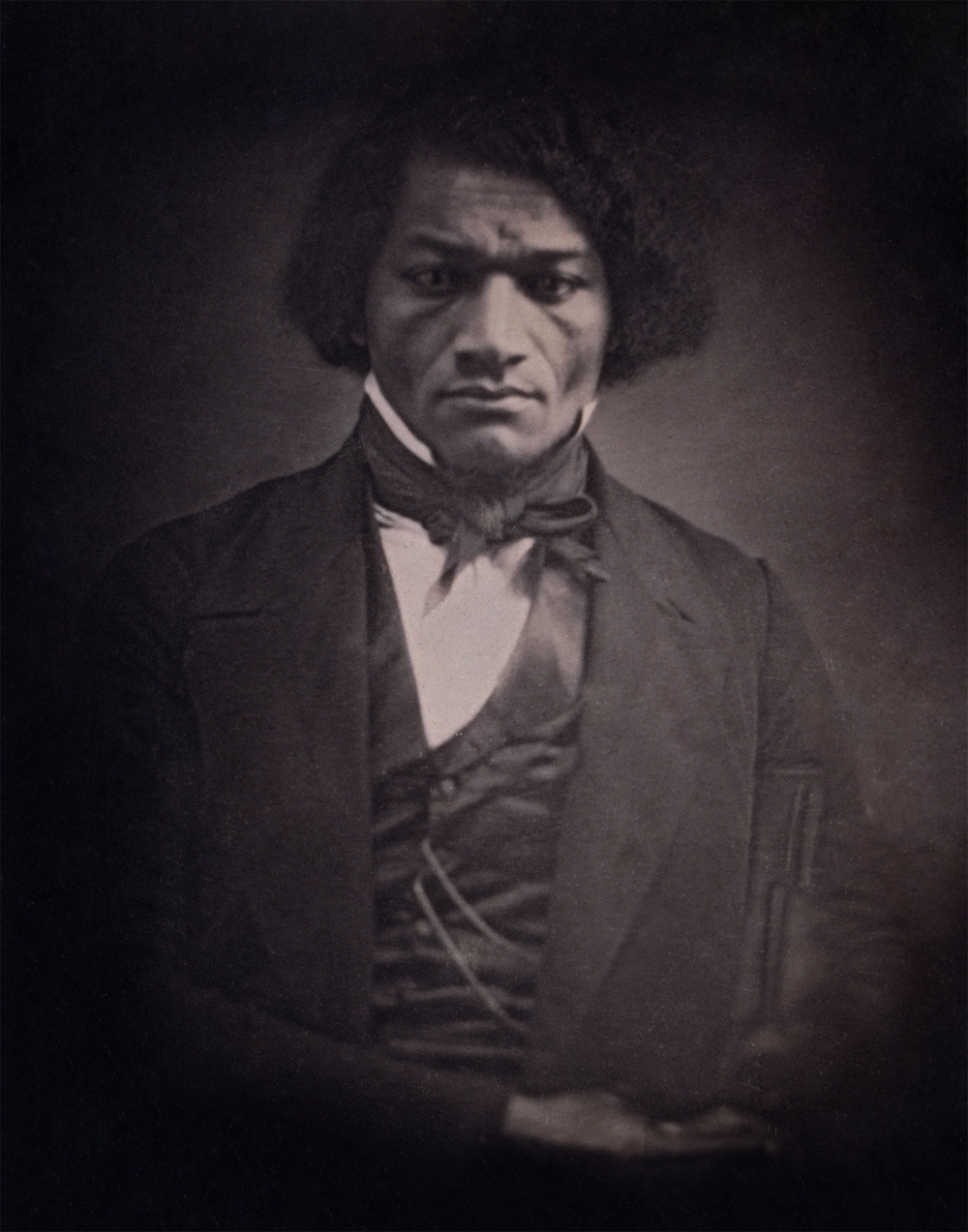 Frederick Douglass was perhaps the most famous African American abolitionist, fighting tirelessly not only for the end of slavery but for equal rights of all American citizens. This copy of a daguerreotype shows him as a young man, around the age of 29 and soon after his self-emancipation. Print, c. 1850 after c. 1847 daguerreotype. Wikimedia, http://commons.wikimedia.org/wiki/File:Unidentified_Artist_-_Frederick_Douglass_-_Google_Art_Project-restore.png.