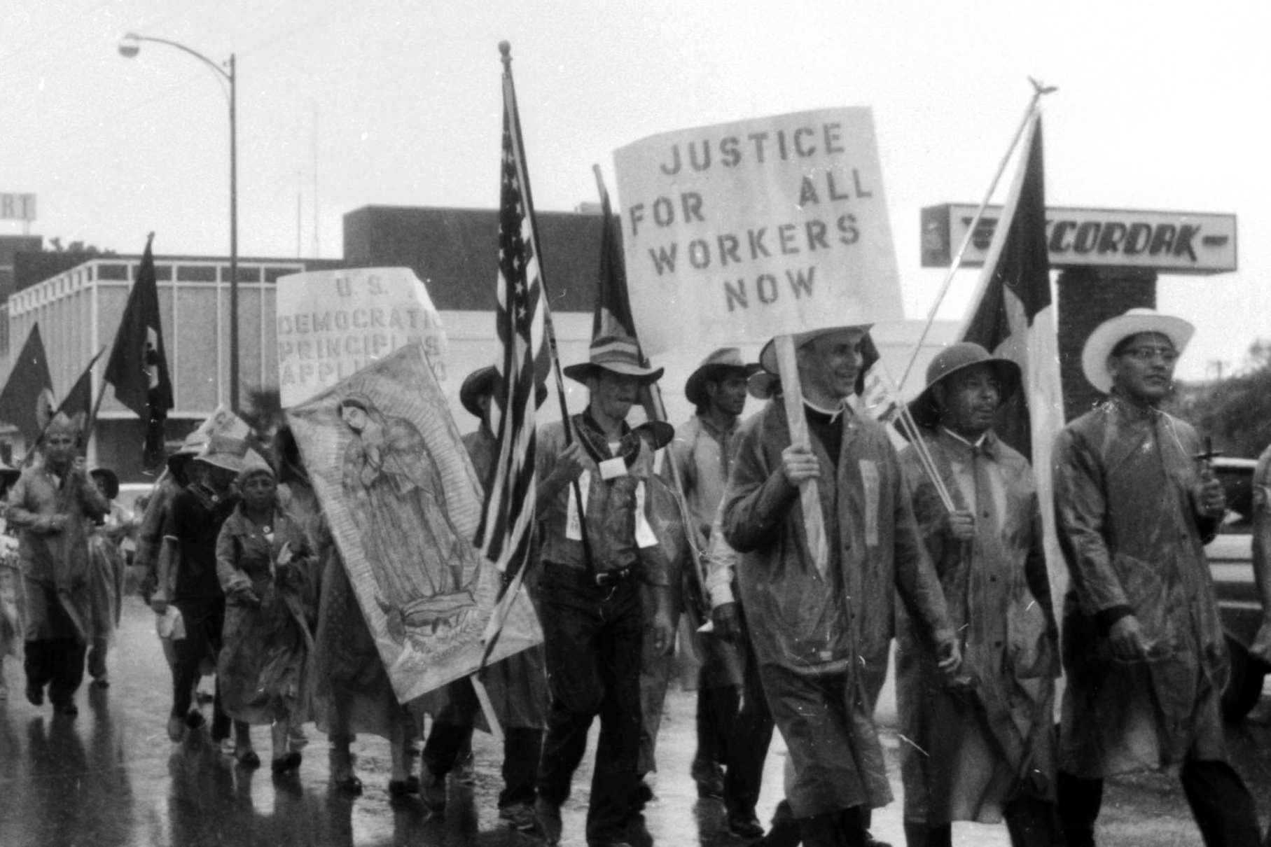 "The 1966 Rio Grande Valley Farm Workers March (""La Marcha""). August 27, 1966. Via the University of Texas-San Antonio Libraries' Special Collections (MS 360: E-0012-187-D-16)"