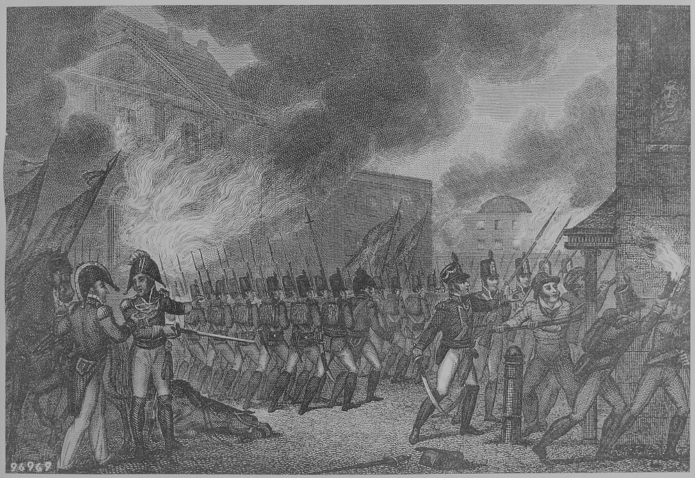 "The artist shows Washington D.C. engulfed in flames as the British troops set fire to the city in 1813. ""Capture of the City of Washington,"" August 1814. Wikimedia, http://commons.wikimedia.org/wiki/File:%22Capture_of_the_City_of_Washington,%22_August_1814,_1814_-_NARA_-_531090.jpg."