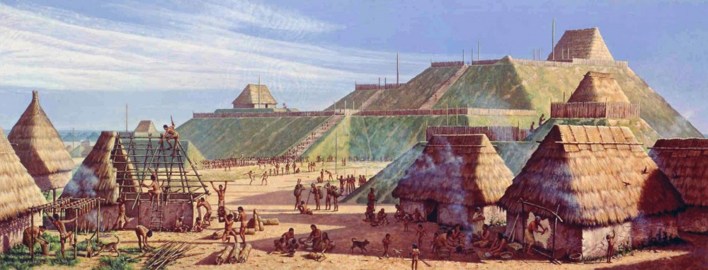 Computer-generated illustration of Cahokia, as it may have appeared around 1150 CE. Thatched huts appear in the foreground, and large earthen mounds are visible in the distance.