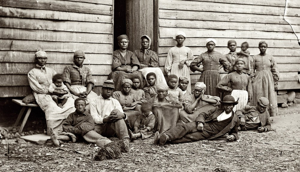"""Contrabands,"" Cumberland Landing, Virginia, 1862, via Library of Congress."