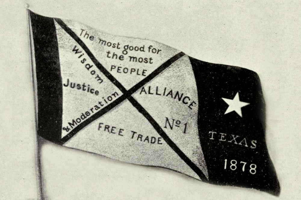 The banner of the first Texas Farmers' Alliance.
