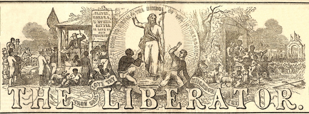 The Liberator, April 17, 1857. Masthead designed by Hammatt Billings in 1850. Via Metropolitan State University.