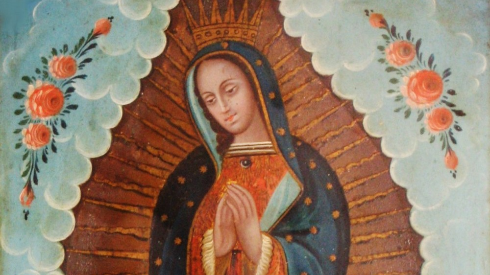 "Our Lady of Guadalupe is perhaps the most culturally important and extensively reproduced Mexican-Catholic image. In the iconic depiction, Mary stands atop the tilma (peasant cloak) of Juan Diego, on which according to his story appeared the image of the Virgin of Guadalupe. Throughout Mexican history, the story and image of Our Lady of Guadalupe has been a unifying national symbol. Mexican retablo of ""Our Lady of Guadalupe,"" 19th century, in El Paso Museum of Art. Wikimedia."
