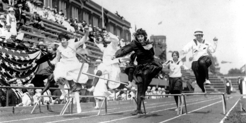 """Women competing in low hurdle race, Washington, D.C.,"" ca. 1920s. Library of Congress (LC-USZ62-65429)"