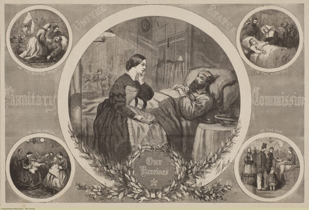"""This print from Thomas Nast celebrates the work of the United States Sanitary Commission which here are called """"Our Heroes."""" Five vignettes show the work of the Sanitary Commission in tending to the sick, sewing materials, and distributing goods."""