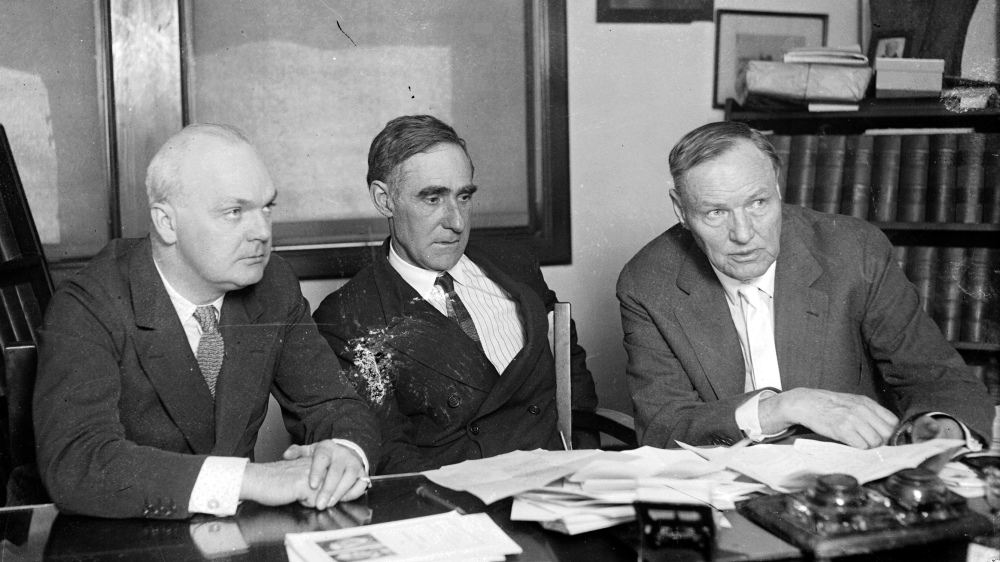 A photograph of the defense team in the Scopes Trial: Dudley Field Malone, Dr. John R. Neal, and Clarence Darrow.
