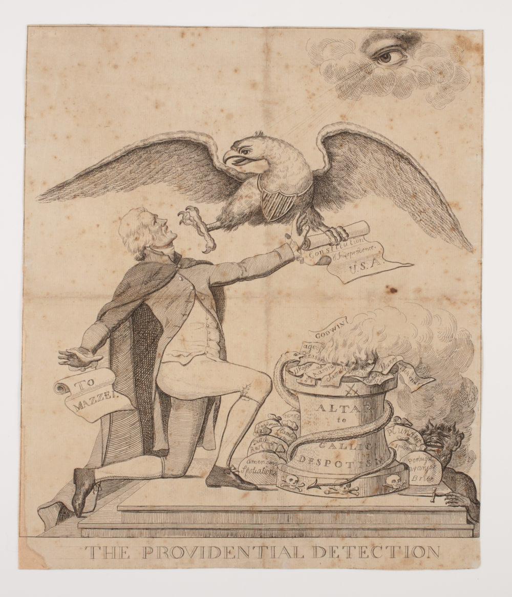"""Providential Detection,"" 1797 via American Antiquarian Society. This image attacks Jefferson's support of the French Revolution and religious freedom.  The letter, ""To Mazzei,"" refers to a 1796 correspondence that criticized the Federalists and, by association, President Washington."