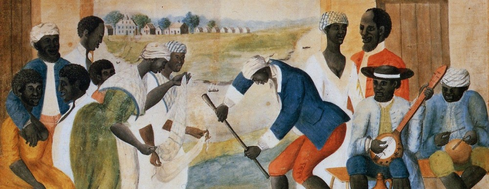 Enslaved people playing music and dancing. Unidentified artist, The Old Plantation, c. 1790–1800, Abby Aldrich Rockefeller Folk Art Museum. Wikimedia.